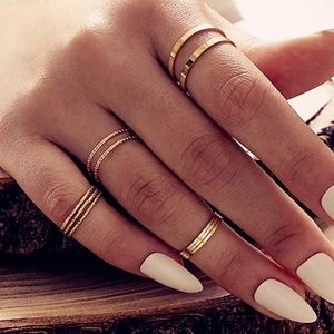 NEW Sexy 10 Pc Gold Boho Knuckle Stacking Ring Se…